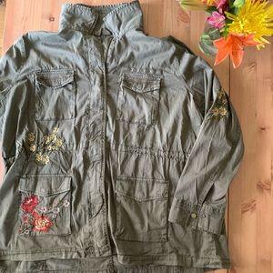 Olive Green Floral Embroidered Utility Jacket